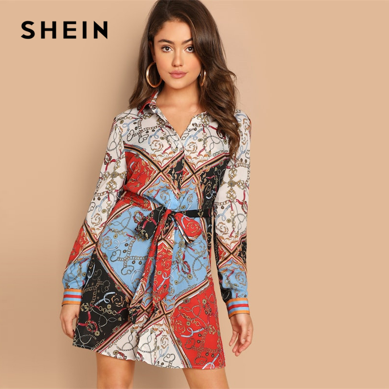 6f17cfbc1426 SHEIN Multicolor Collar Scarf Print Self Belted Shift Short Dress Long Line  A Line Dresses 2019
