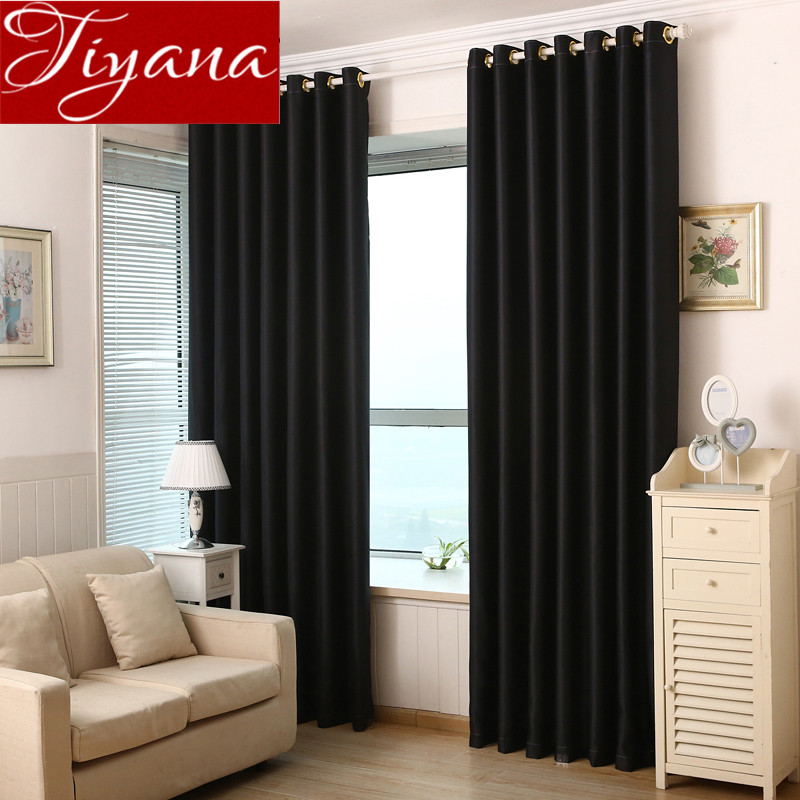 Pure Solid Color Curtains For Modern Living Room Window Screen Curtains Cloth Blinds Shades Drapes Black
