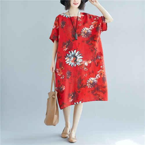 Moda Casual Mulheres Senhoras Vestidos Plus Size Boho Vestido de Meia Manga de Linho de Algodão Floral de Grandes Dimensões
