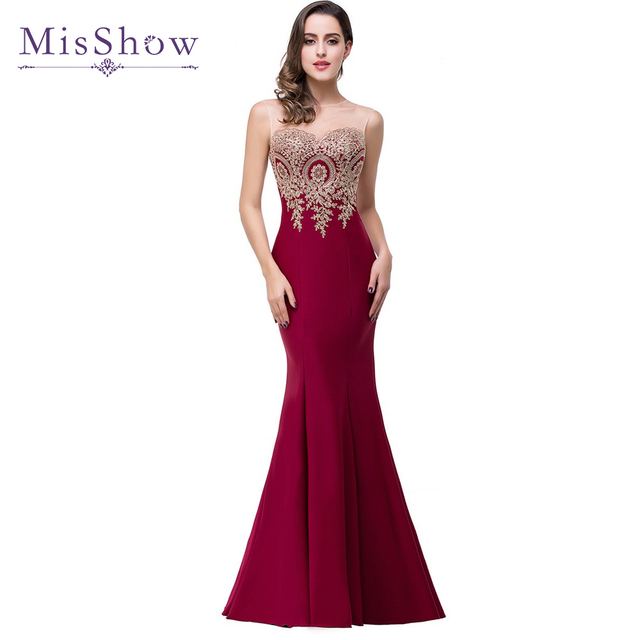 2018 Mermaid Sheer Neck Burgundy Satin Cheap Long Evening Dresses christmas dress Robe De Soiree Formal Evening Gown Party Dress