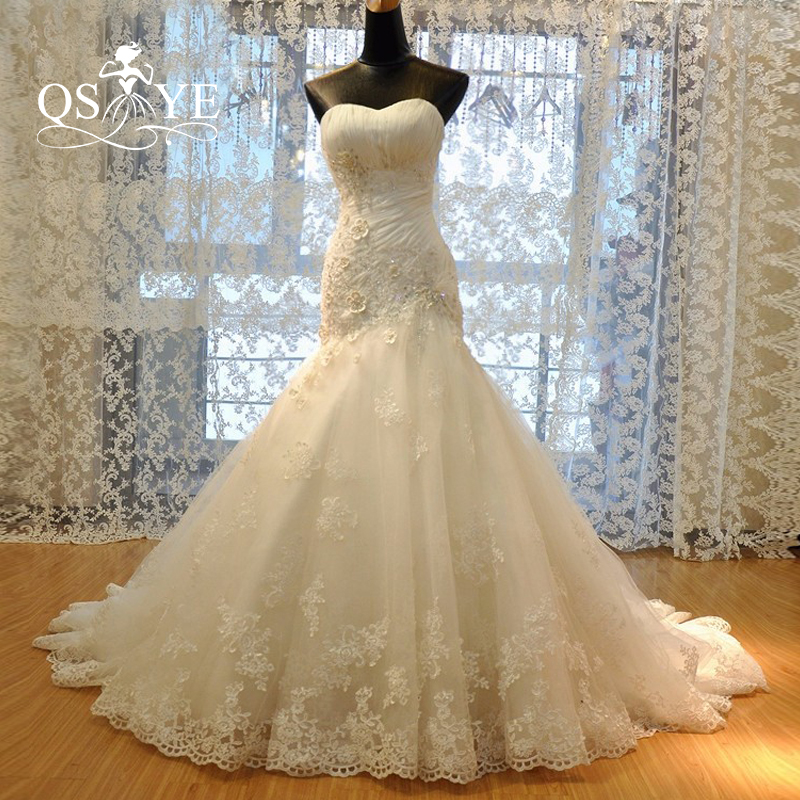 New Luxury Mermaid Lace Wedding Dresses 2018 Corset Bodice Sweetheart 3D Flowers Court Train Tulle Appliques Cheap Bridal Gowns