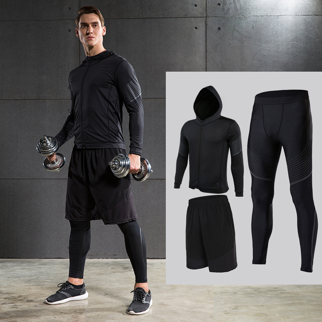 d7a5528e31a Men s Compression Running Suits Three Clothes Sports Set Jackets Shorts and Pants  Joggers Gym Fitness Compression Tights Sets