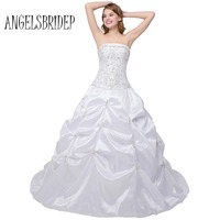 Stock Cheap Wedding Dresses Strapless Embroidery Beaded Sequined Bridal Gown With Chapel Train Lace Up Size