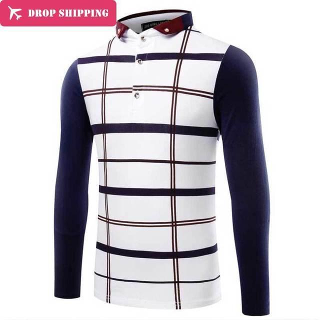 Polo de manga larga de algodón masculina top de rayas primavera diseño polo hombres camisa masculina de manga larga slim fit cuello polos shirthx06