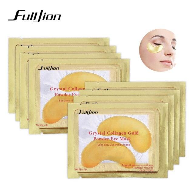 Fulljion Природный Кристалл Коллаген Золотой маска для глаз Anti-Aging Уход за лицом спальный глаз Нашивки устраняет темные круги тонких линий