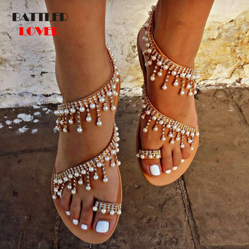 2019 women sandals summer fashion shoes flat pearl sandals comfortable string bead slippers women casual sandal shoes size 35-43