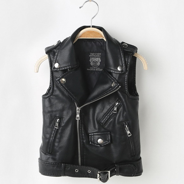 Fashion Baby Boy Vest Children Girl PU Leather Waistcoats Jacket Kids Outerwear Sleeveless Coat Boys Motorcycle Vest DQ199
