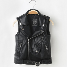 Мода Baby Boy Жилет для Детей Девушки PU Кожаные Жилеты Куртки Дети Верхняя Одежда Без Рукавов Пальто Мальчиков Жилет Мотоцикл DQ199
