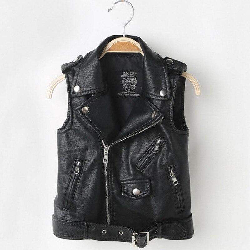 Fashion Baby Boy Vest Children Girl PU Leather Waistcoats Jacket Kids Outerwear Sleeveless Coat Boys Motorcycle Vest DQ199