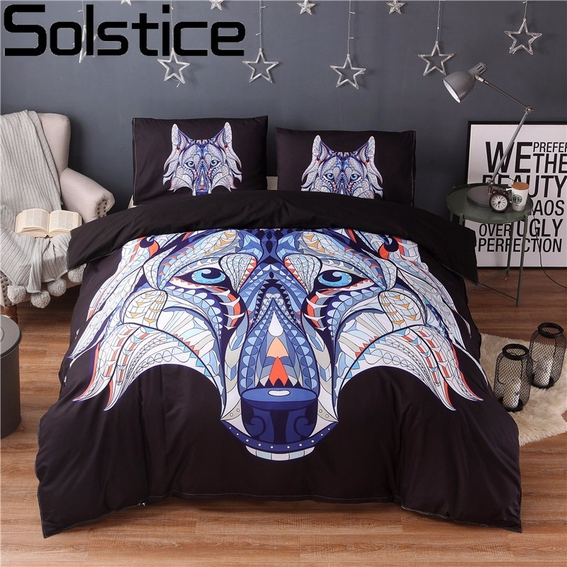 Solstice Black Wolf Head Lion Head Bohemian Style Bedding Sets 3pcs Bed Linings Duvet Cover Pillowcases Double Queen King SizeSolstice Black Wolf Head Lion Head Bohemian Style Bedding Sets 3pcs Bed Linings Duvet Cover Pillowcases Double Queen King Size