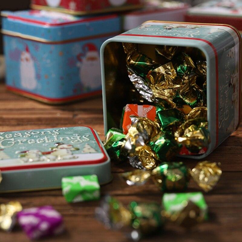 LLLucky Christmas Estampado en Relieve de hojalata Latas vac/ías Contenedor de Almacenamiento de Galletas de Caramelo Caja de Regalo