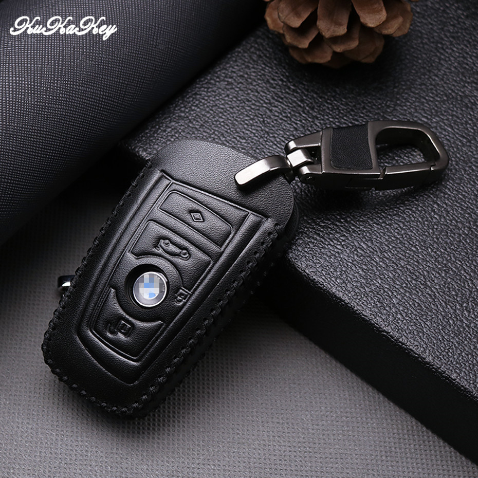цена 2 Button Leather Smart Key Case Cover for BMW 525li New 3 Series 5 Series 7 Series X6 X3 X4 Car Key Protective Shell Holder Ring
