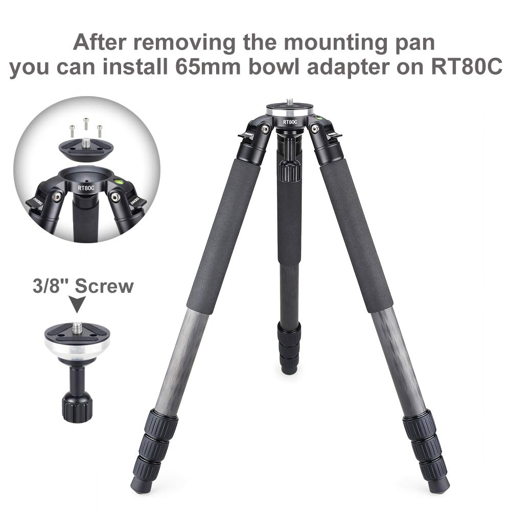 INNOREL RT80C Carbon Fiber Camera Tripod Professional Birdwatching Heavy Duty Tripod 65mm Bowl Adapter for DSLR Video Camcorder