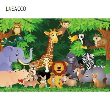 Laeacco Birthday Photophone Jungle Party Backdrops Safari Animals Trees Grassland Photography Backgrounds Baby Newborn Photozone