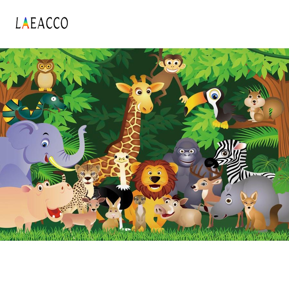 Laeacco Forest Safari Animals Jungle Party Grassland Photography Backgrounds Customized Photographic Backdrops For Photo Studio