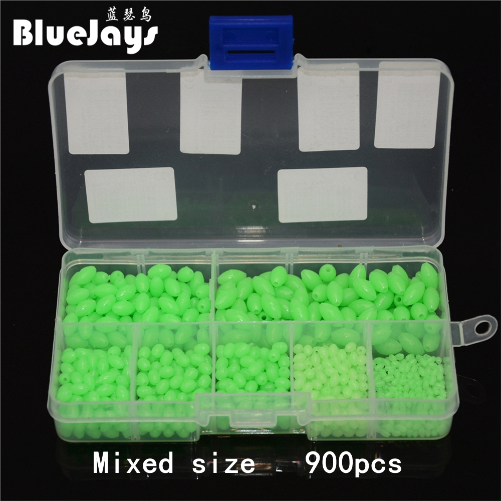 Фото 900pcs Mixed size Wholesale Fishing Plastic Lure Oval Luminous Fishing Beads Fishing Beads Fishing Terminal Tackle Free shipping