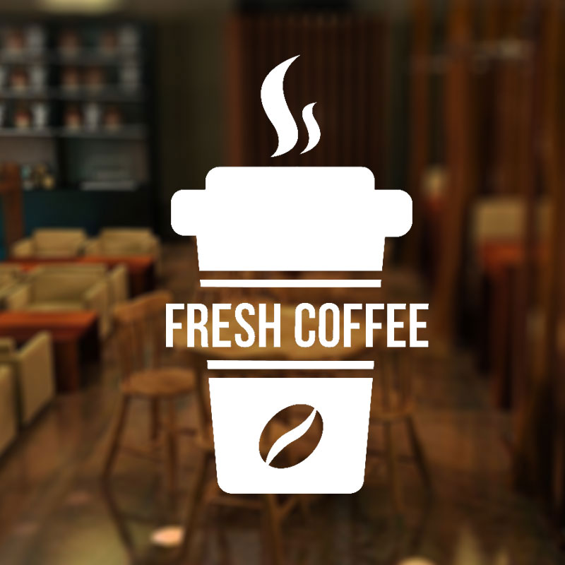 Fresh Coffee Vinyl Window Sign Shop Coffee Bar Pub Coffee Window Sticker Sign Takeaway Coffee Sign Self adhesive Decal 3W04 in Wall Stickers from Home Garden