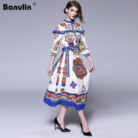 Banulin Runway 2 Piece Dress Set Women Spring Autumn 2018 Long Sleeve High Quality Floral Print Ruffle Blouse + Tie Long Skirts
