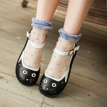 2018 new spring autumn mary janes cartoon flat shoes for women cute cat t-strap flats girls sweet ballets shoes plus size 34-43