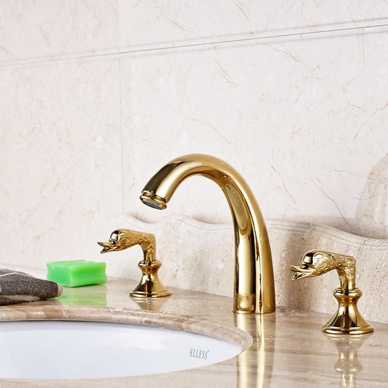 Luxury Golden Brass Widespread Bathroom Basin Faucet Dual Swan Handle Mixer Tap gold finsh swan handle widespread bathroom basin faucet dual mixer tap