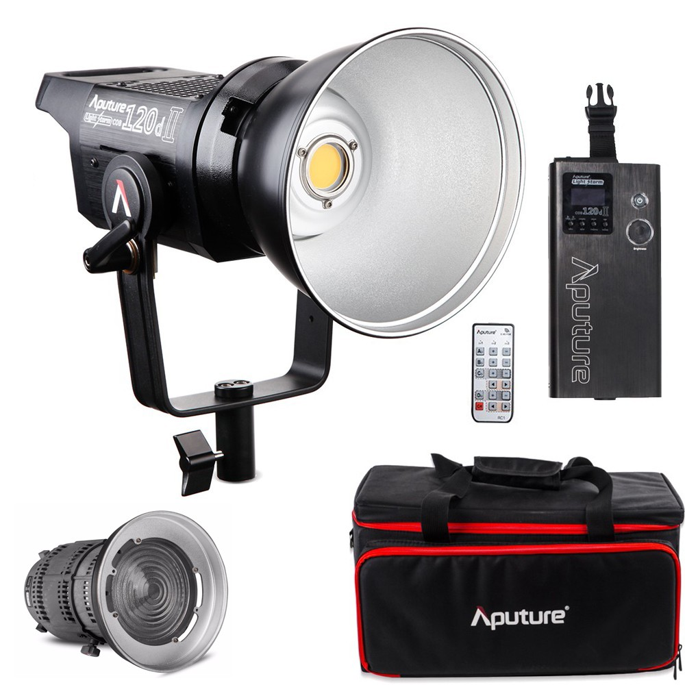 Aputure LS 120d Mark II Light Storm COB LED Studio Light Kit LED Bowens Mount Continuous Video Light with Fresnel Mount aputure ls c120t tlci cri 97 light dome kit led video studio camera light panel light storm with wireless remote v mount plate