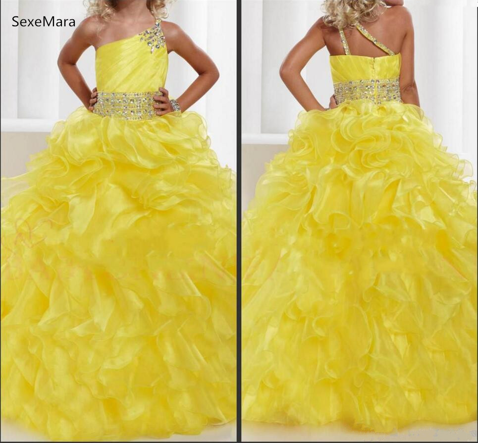 Yellow Beaded Crystal Organza Girls Pageant Gown Ruffles Sash Belt ...