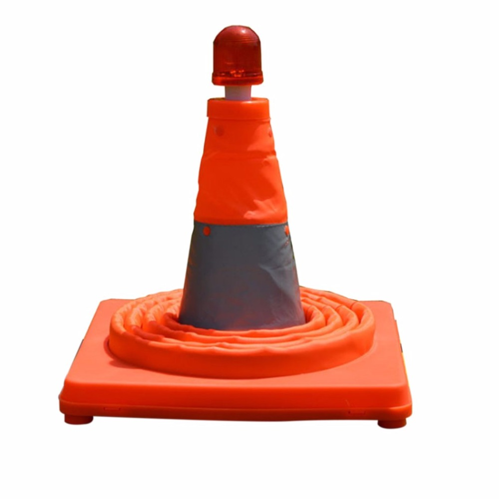 Telescopic Folding Road Cone Barricades Warning Sign Reflective Oxford Traffic Cone Traffic Facilities For Road Safety new reflective traffic warning sign car triangle foldable standing tripod emergency