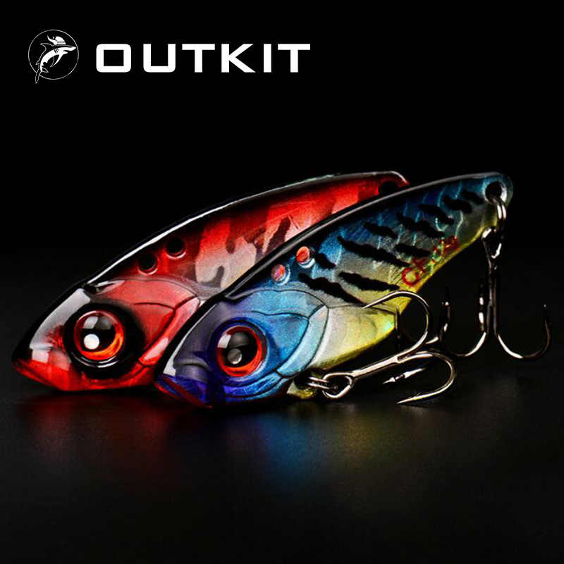 OUTKIT 1Pcs 40mm 6g 9g 12g Metal VIB Fishing Lure Crankbait Bass Crank Bait Treble With 2 Hooks Spoon Bait Lead Fish Crankbait