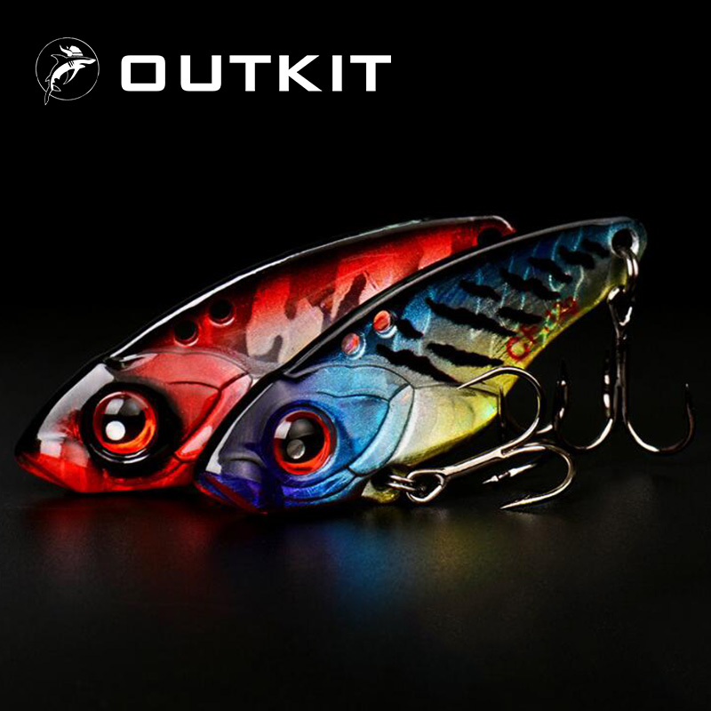 OUTKIT 1Pcs 40mm 6g 9g 12g Metal VIB Fishing Lure Crankbait Bass Crank Bait Treble With 2 Hooks Spoon Bait Lead Fish Crankbait afishlure quick sinking metal vib crankbait 12g 15g 20g treble hooks vibration lure fishing lure metal spoon sequins all water