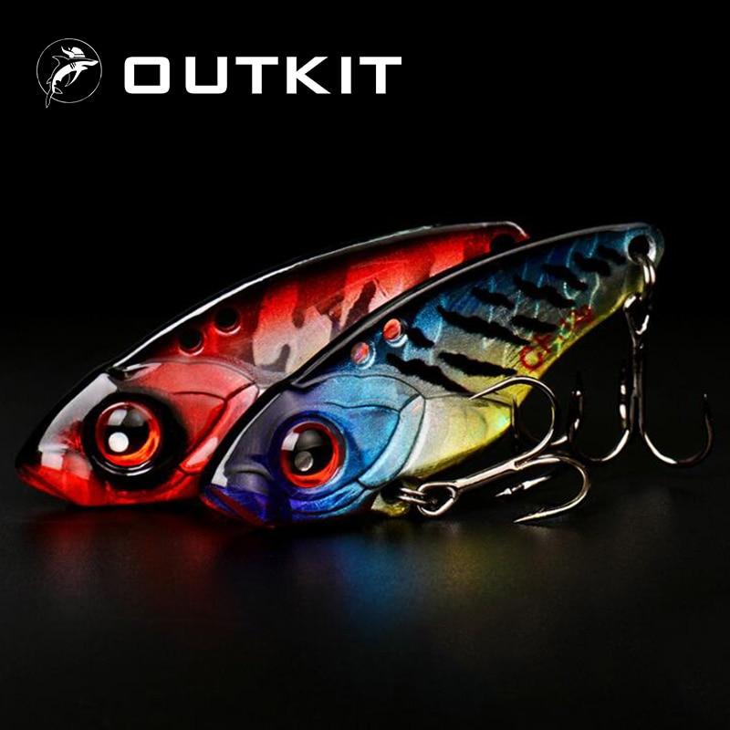 OUTKIT 1Pcs 40mm 6g 9g 12g Metal VIB Fishing Lure Crankbait Bass Crank Bait Treble With 2 Hooks Spoon Bait Lead Fish Crankbait