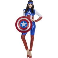 HUGGUH Brand New Mulheres Sexy Role Play Super Heroes Capitão América Traje de Halloween Masquerade Mulheres Sexy Macacões H157314