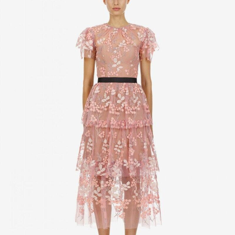De Qualité 2019 Robe Rose Lacets Supérieure Mode Sirène À Haute Floral Femmes Plissée Taille Embelli rqEprwAS