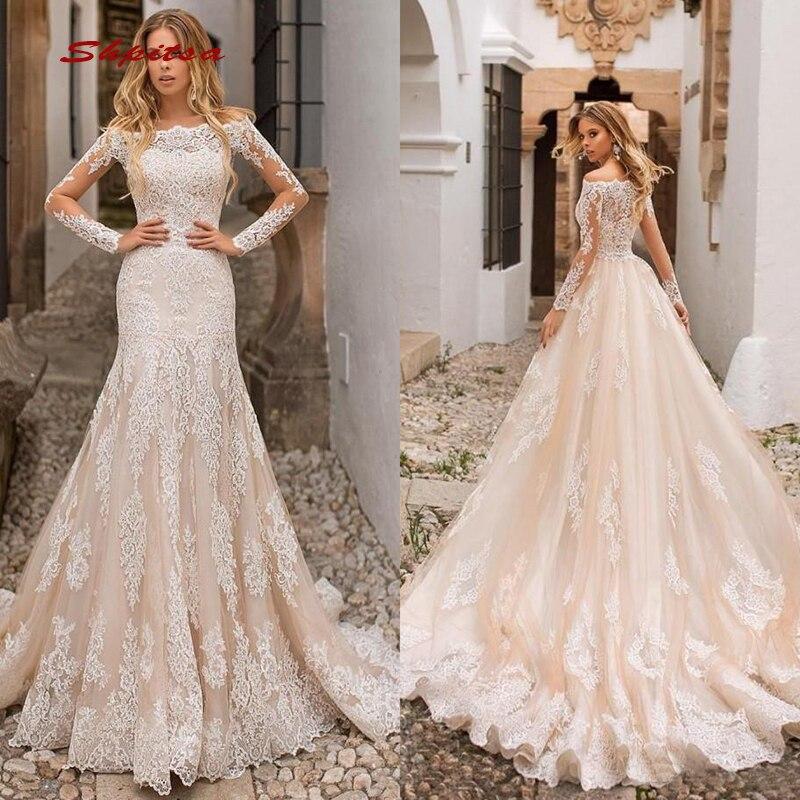 5c5efc034f9 Легкий кремовый цвет кружевные свадебные платья Тюль с длинным рукавом юбка  Русалка больших размеров невесты Свадебный