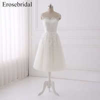 Simple Short A Line Wedding Dress 2018 Erosebridal Bohemian Wedding Dresses Lace Cheap Price Bridal Gown
