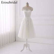 Simple Short A Line Wedding Dress 2018 Erosebridal Bohemian Dresses Lace Cheap Price Bridal Gown Zipper Vestido De Noiva