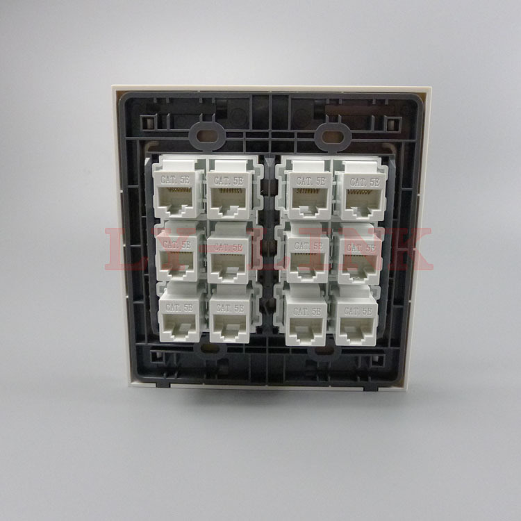 120 X 120mm face plate 12 Ports CAT5E rj45 female to female wall plate network wall