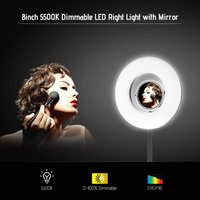 Tabletop 8inch 5500K LED Ring Video Light 24W Dimmable Fill Light with Makeup Mirror Deskclip Bendable Pole for Photo Live Video