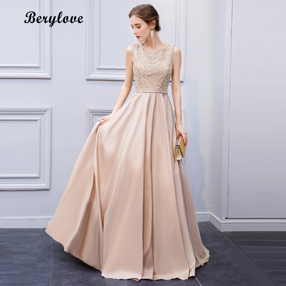 BeryLove Elegant Light Champagne Lace Evening Dresses 2018 Long ...