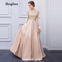 BeryLove élégant robes de soirée en dentelle Champagne Lumière 2018 longues robes de soirée paillettes formelle robe de soirée Robes de bal