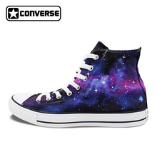 2017 Purple Galaxy Nebula Original Design Converse All Star Men Women Shoes Hand Painted High Top Man Woman Sneakers Washable
