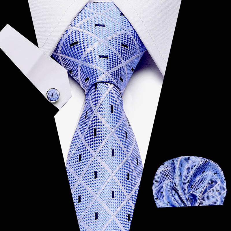 Blue Geometric Plaid 100% Silk Men Tie 7.5cm Woven Business Party Necktie Dropshipping Gift