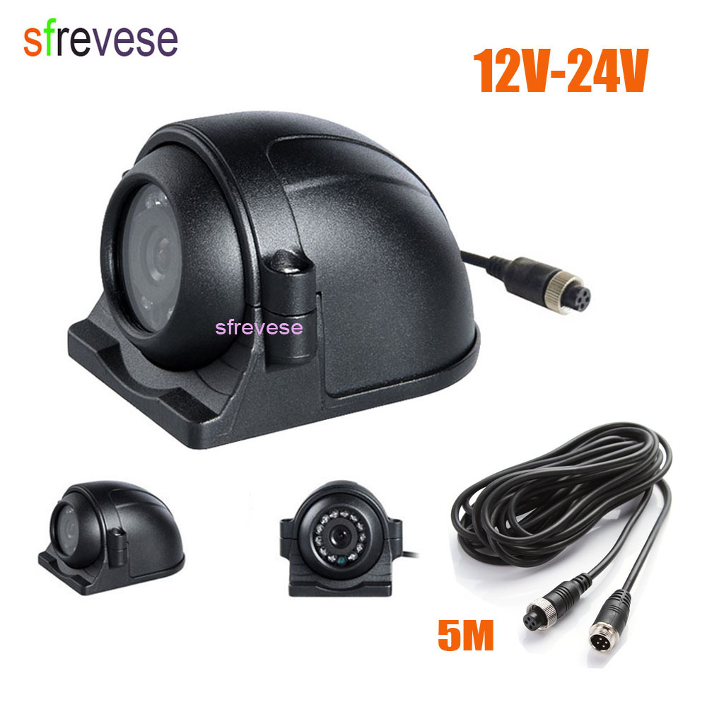 4Pin 12 LED Side Rear View Parking Reversing Backup Camera For Truck Bus Vehicle Monitor + 5M Video Cable 12V-24V