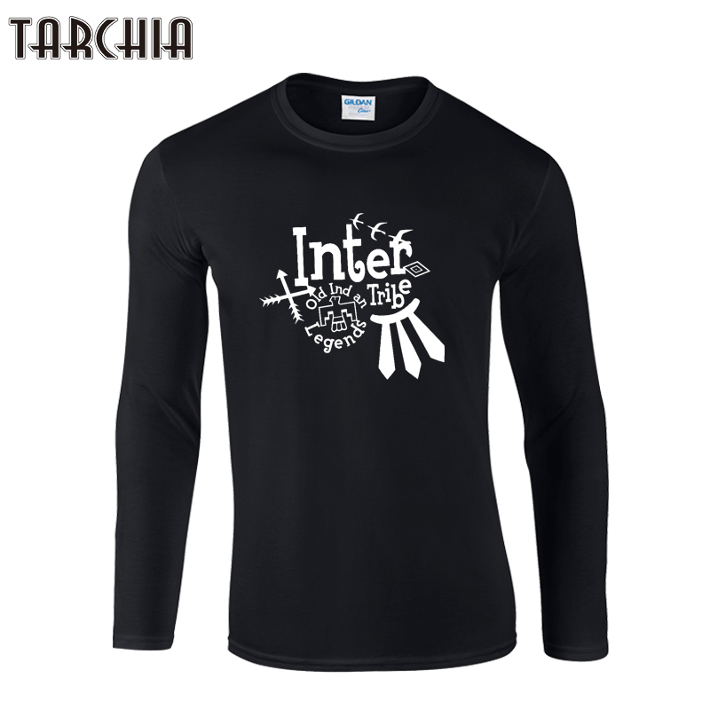TARCHIA 2018 New Fashion Brand Print O-Neck Slim Fit Long Sleeve T Shirt Men Trend Casual Men T-Shirt Cotton T Shirts Homme