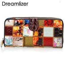 Dreamlizer, женские кошельки из натуральной кожи в стиле пэчворк, большой размер, сумка для монет, женский клатч, кошелек, Женский Длинный держатель для карт, кошелек