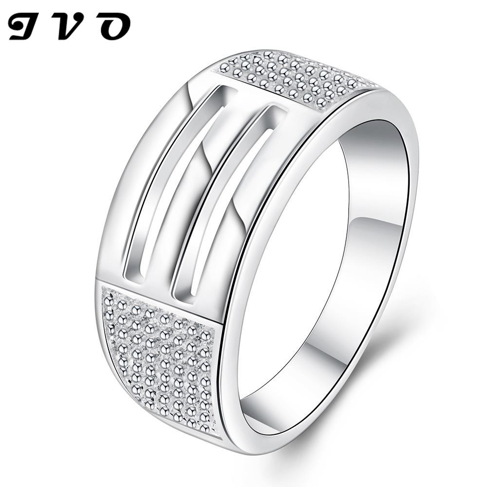 Free Shipping Fashion Design Silver Plated Rings For Men Hollow Elongated  Crystal Aliancas Costume Jewellery(