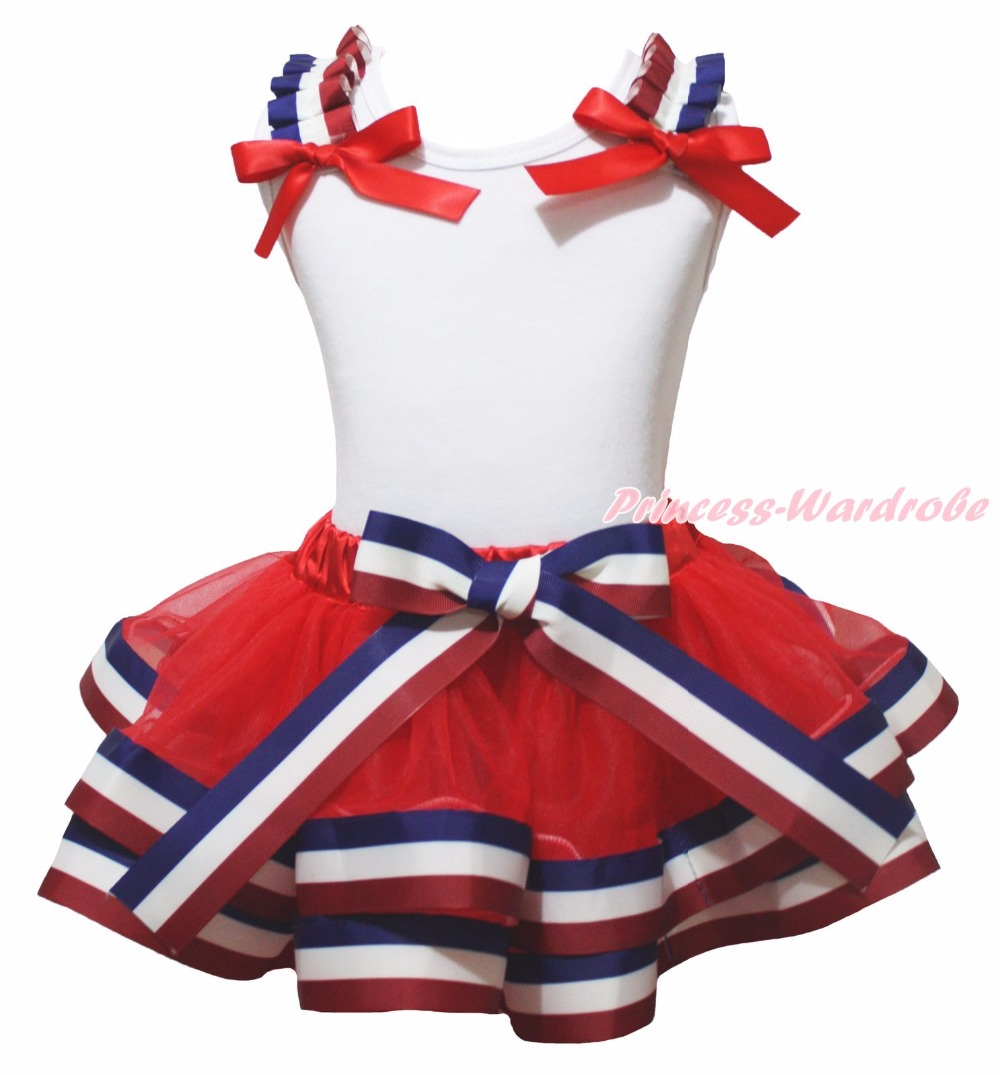 ФОТО 4th July Twin Star Born in the USA 1ST 2ND 3RD White Top Red Blue Stripe Trim Skirt Girls NB-8Y