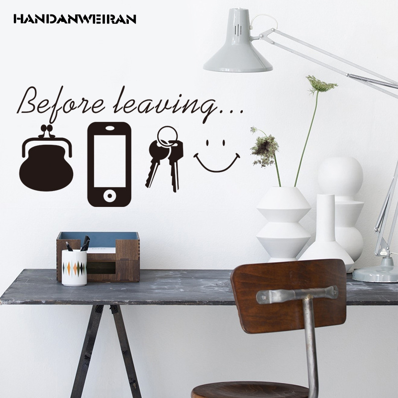 Before leaving. Key bag Decorative sticker Entrance of the office decorative wall stickers