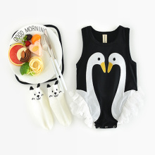 2017 Summer Rompers Girls Clothes Character Swan Infant Clothes Fashion Sleeveless Cotton Romper Jumpsuit Pullover Lace Romper