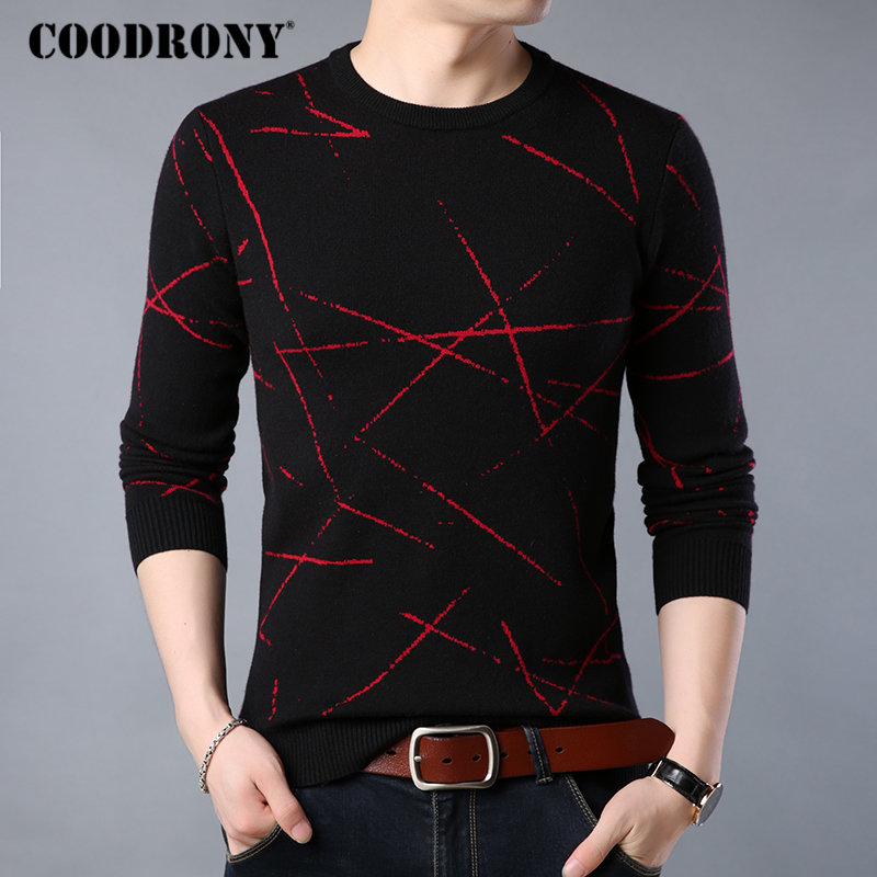 COODRONY Mens Sweaters Pull Cashmere O-Neck Winter Casual Warm Thick Soft H013 Homme