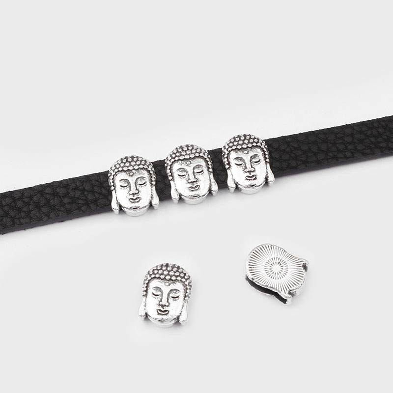10Pcs Antique Silver Buddha Charms Slider Spacer Beads  Fit 10*2mm Flat Leather Cord Bracelet Jewelry Findings Making